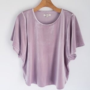 Madewell Pink Blush Velvet Batwing Blouse